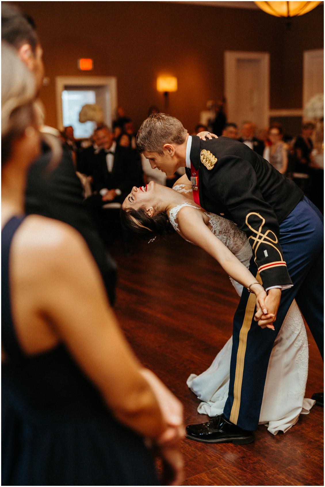 Bride and groom dancing, groom dips bride. | My Eastern Shore Wedding |