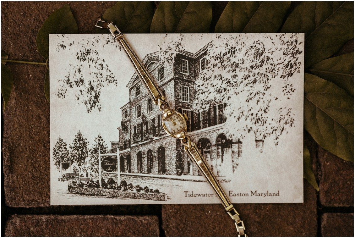 Sketch on stationery of The Tidewater Inn with a golden watch. | My Eastern Shore Wedding |