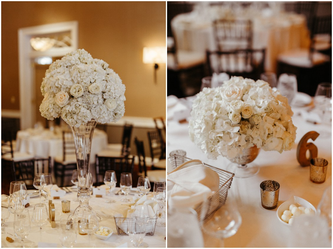 White roses, peonies, and hydrangea centerpieces on tables. | My Eastern Shore Wedding |