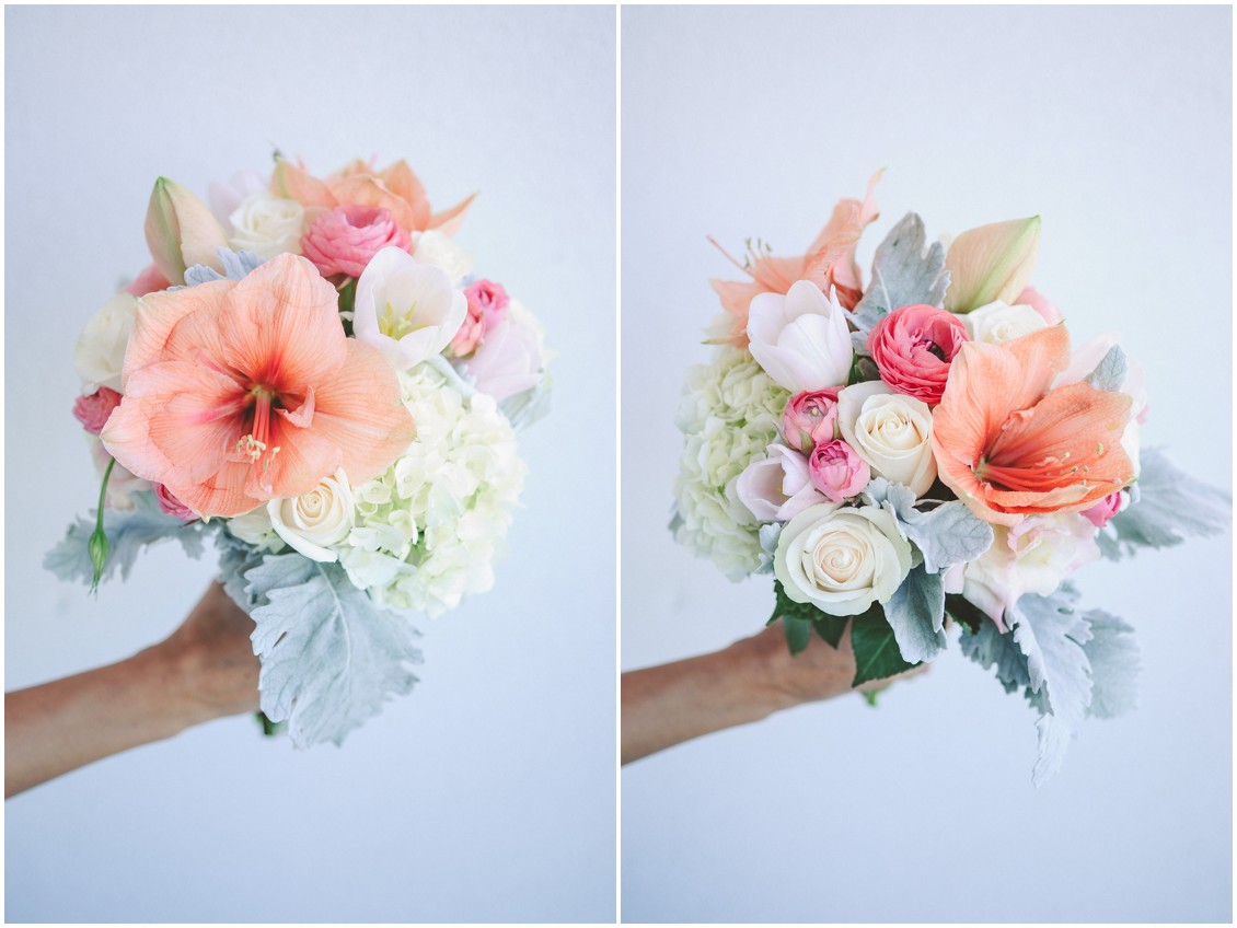 Hibiscuses, hydrangeas, and roses bouquet by Flowers by Alison. | My Eastern Shore Wedding |