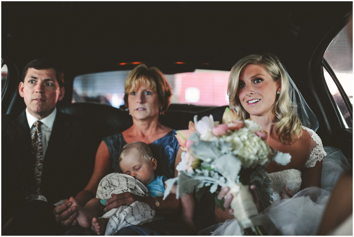 Bride with her mother and father, on their way to the church. | My Eastern Shore Wedding |