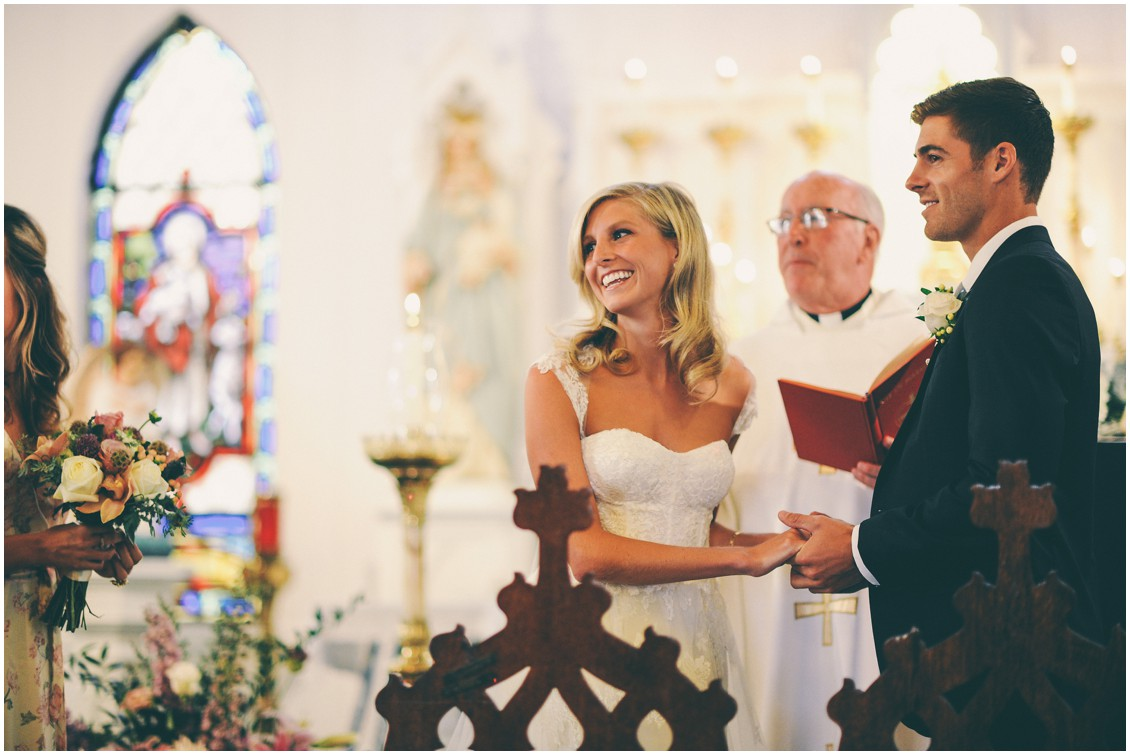 Bride and groom at the wedding altar during the ceremony. | My Eastern Shore Wedding |