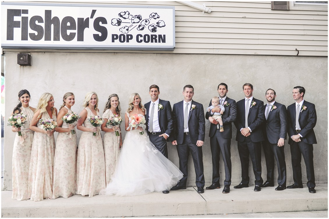 Bridal party in front of Fisher's Popcorn. | My Eastern Shore Wedding |