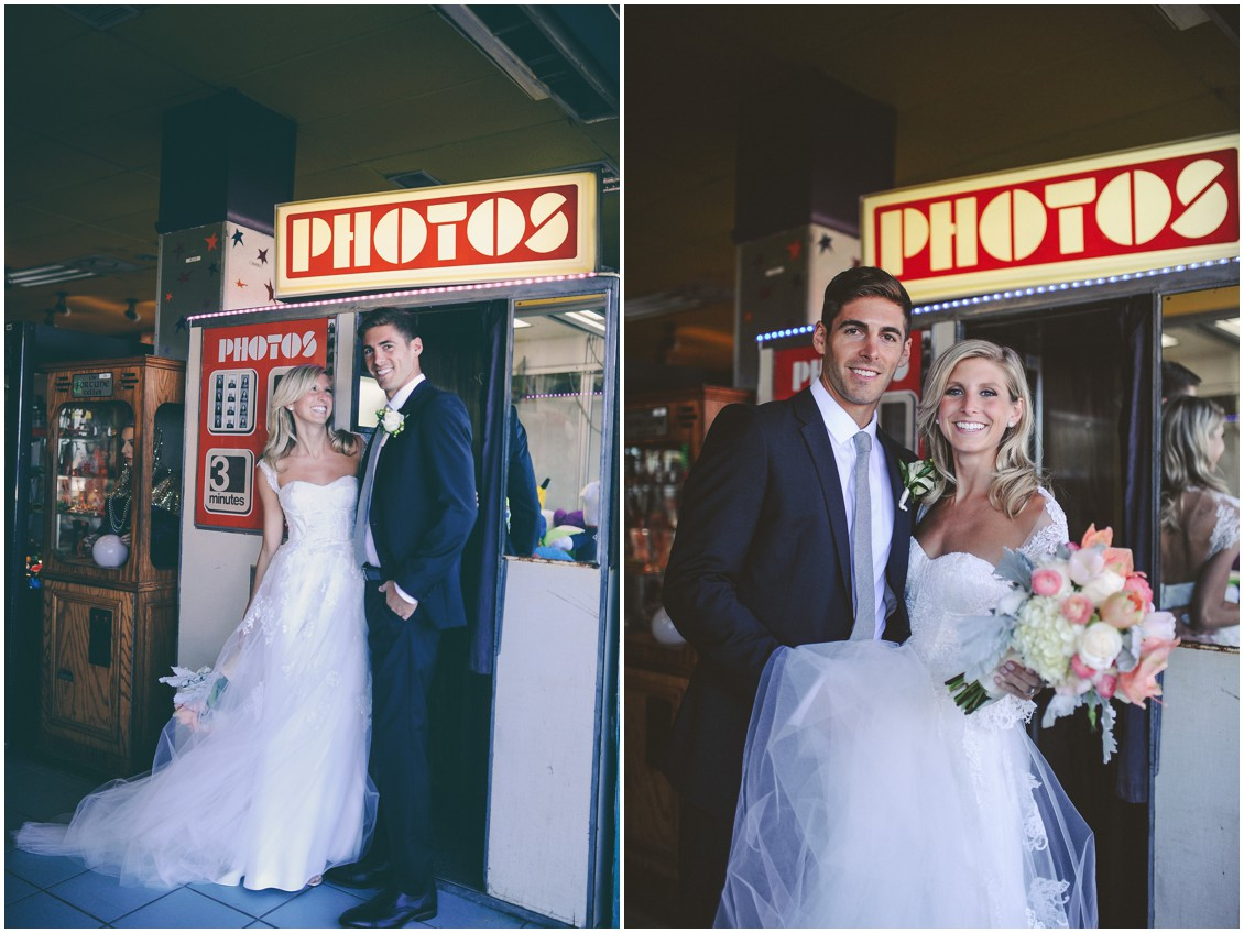 Bride and groom by photo booth. | My Eastern Shore Wedding |