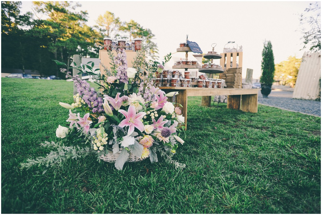 Large floral basket with pink lilies by Flowers by Alison. | My Eastern Shore Wedding |
