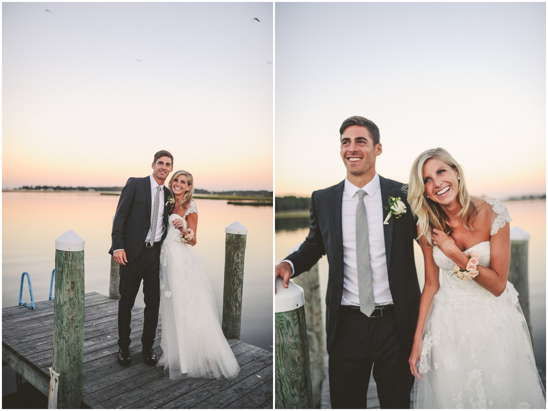 Bride and groom on the dock together at sunset. | My Eastern Shore Wedding |