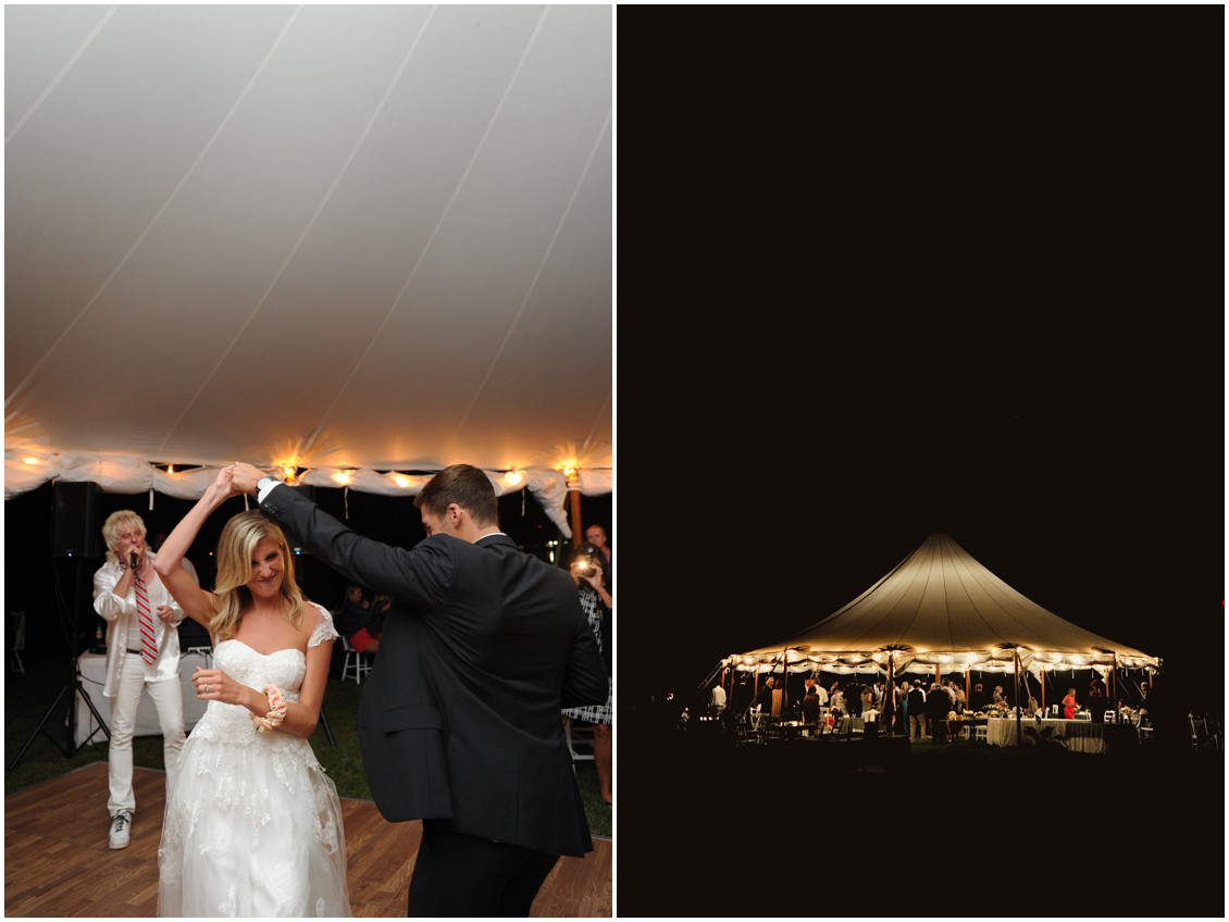 Bride and groom dancing under the lit up white tent. | My Eastern Shore Wedding |