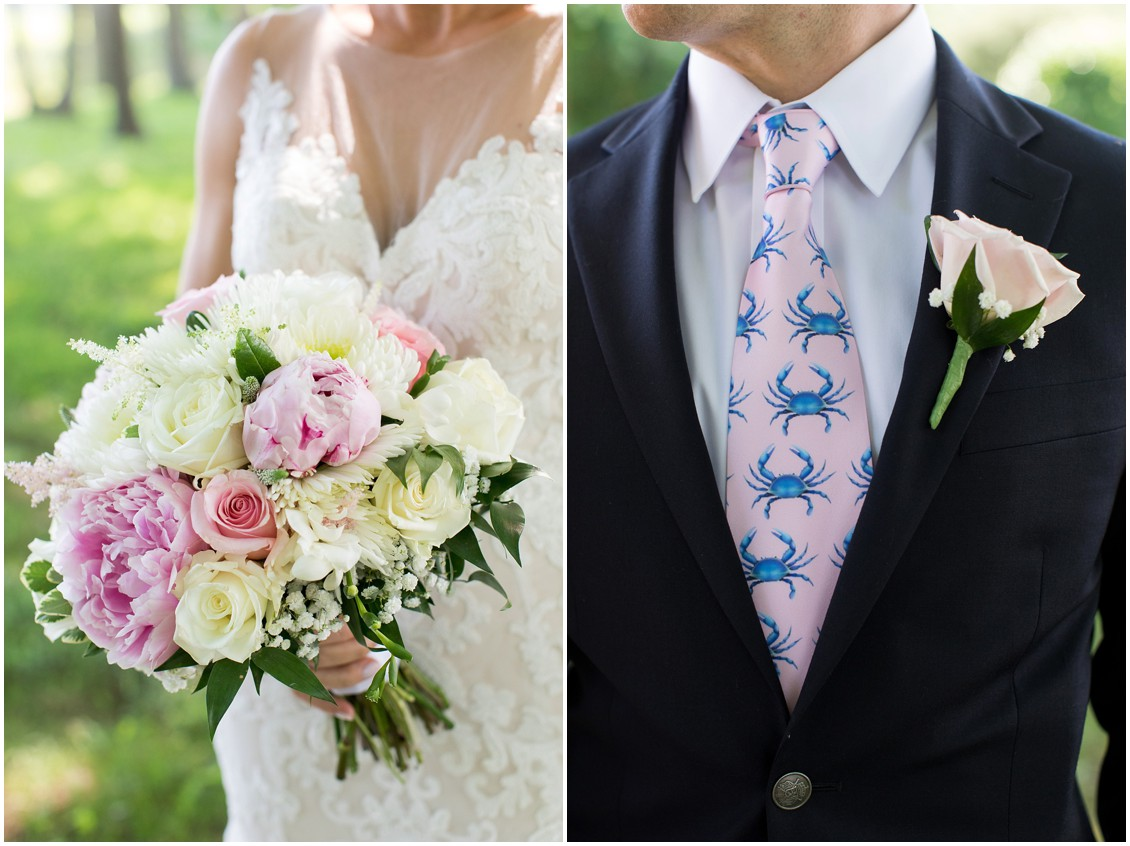 Bright pink and white floral bouquet, light pink rose boutonniere, and a pink tie with blue crabs. | My Eastern Shore Wedding |