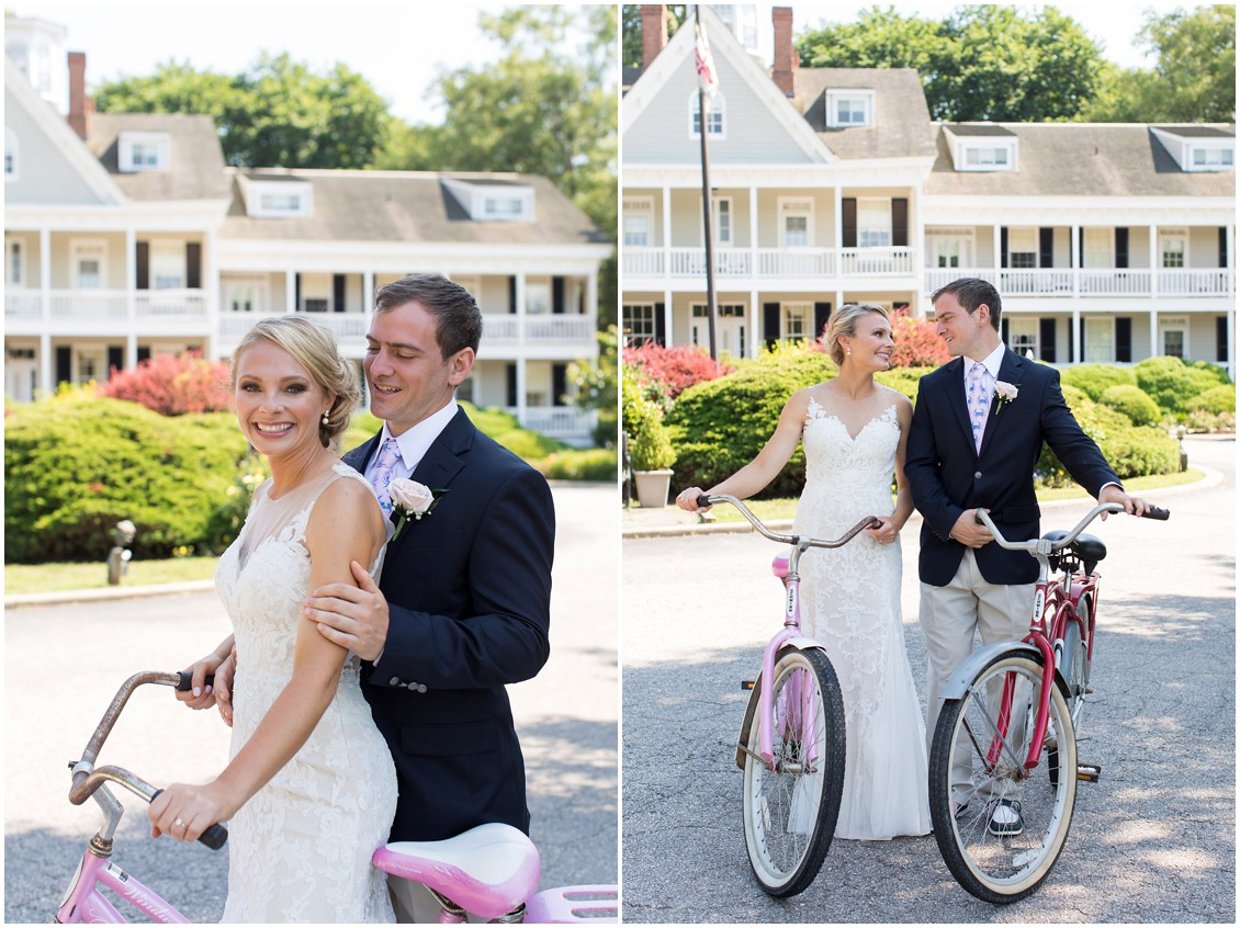 Bride and groom together on bicycles in front of the Historic Kent Manor Inn in Stevensville, MD. | My Eastern Shore Wedding |