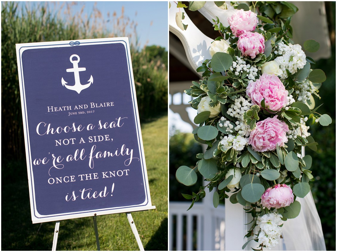 "Nautical ""choose a seat"" sign and light pink peonies and white floral arrangement. 