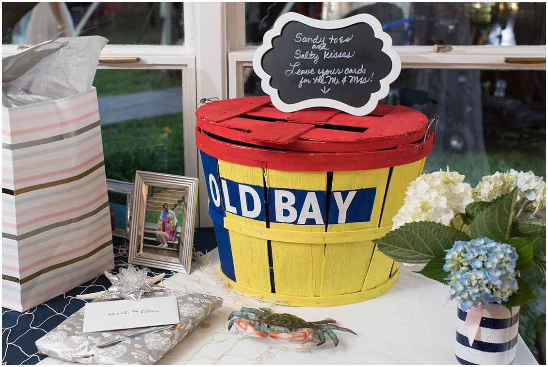 Old Bay seasoning painted crab crate DIY container for wedding gift cards. | My Eastern Shore Wedding |