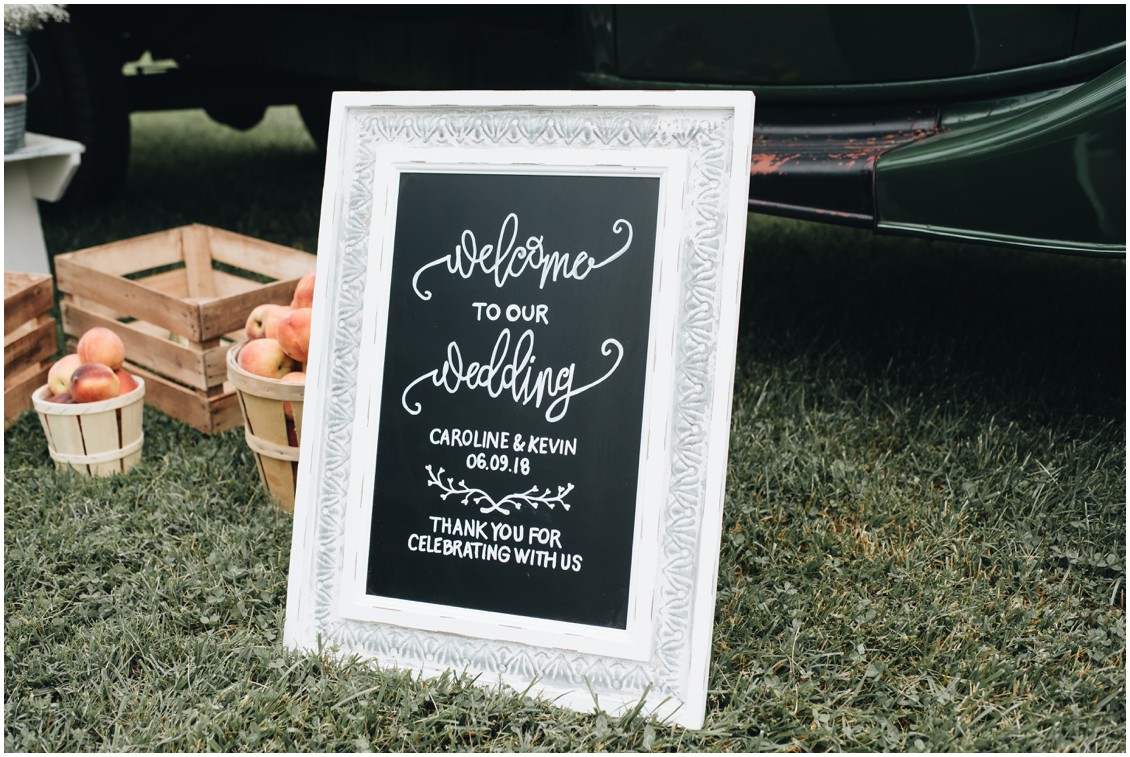 "White-framed chalkboard ""welcome to our wedding"" sign. 