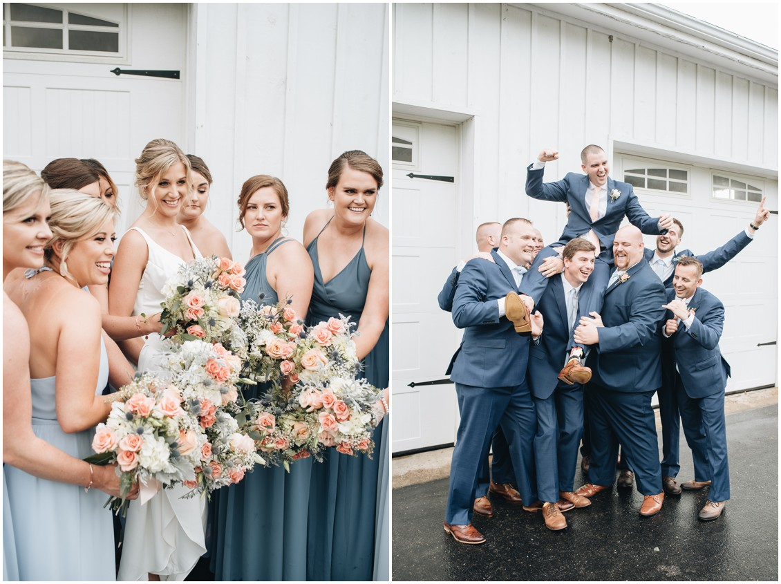 Bride with her bridesmaids and the groom with his groomsmen in front of white garage. | My Eastern Shore Wedding |