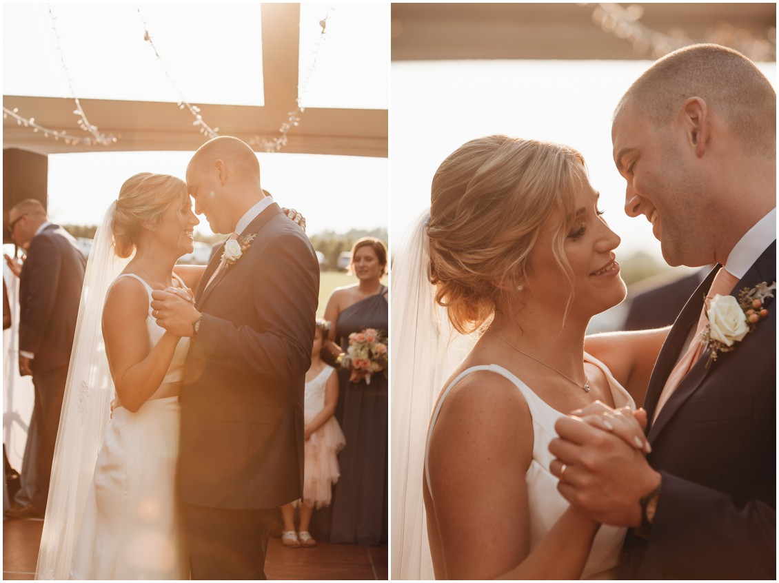 Bride and groom dancing at sunset at wedding reception. | My Eastern Shore Wedding |