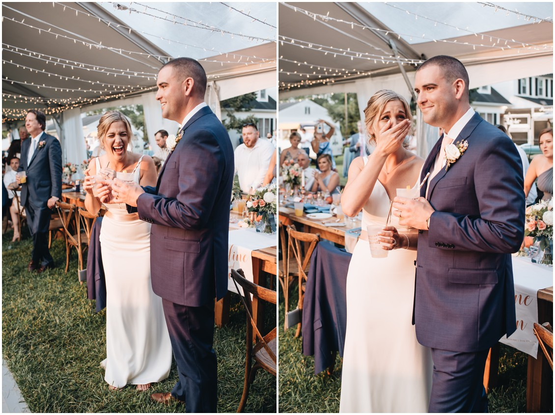 Bride and groom listening to speeches at reception party. | My Eastern Shore Wedding |