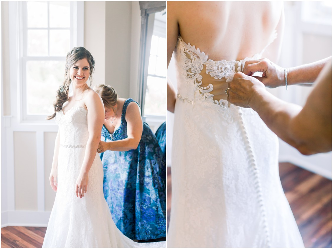 Bride getting ready with her mother. | My Eastern Shore Wedding |