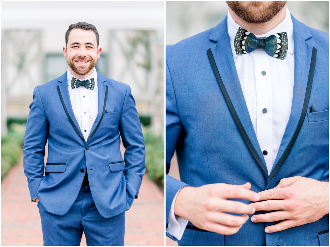 Groom in dark blue suit and a patterned bowtie. | My Eastern Shore Wedding |