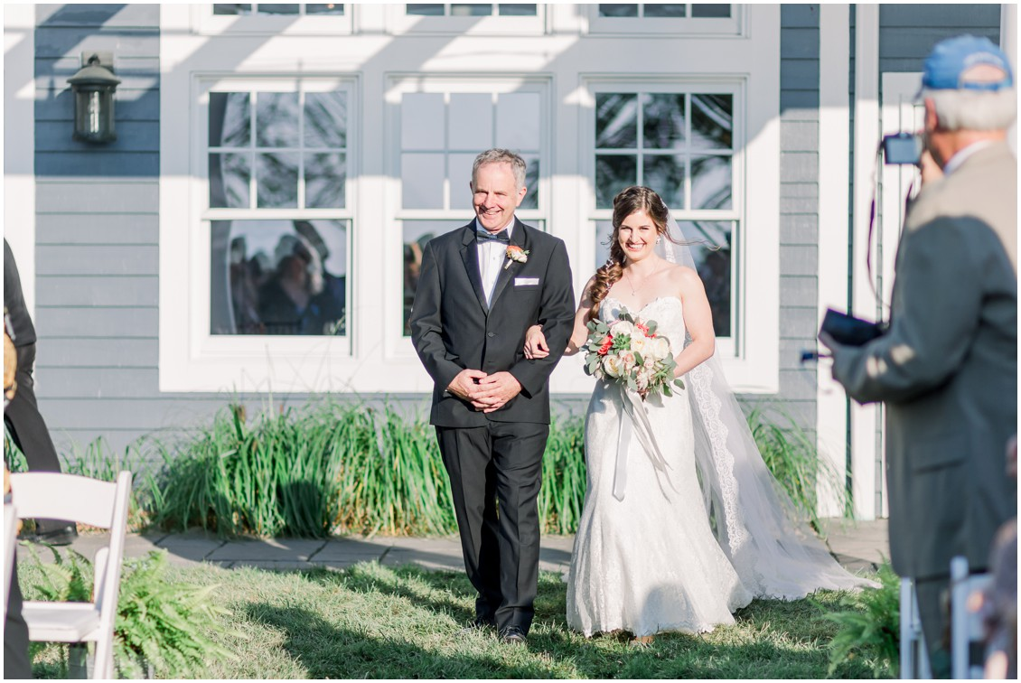 Father walking the bride down the aisle. | My Eastern Shore Wedding |