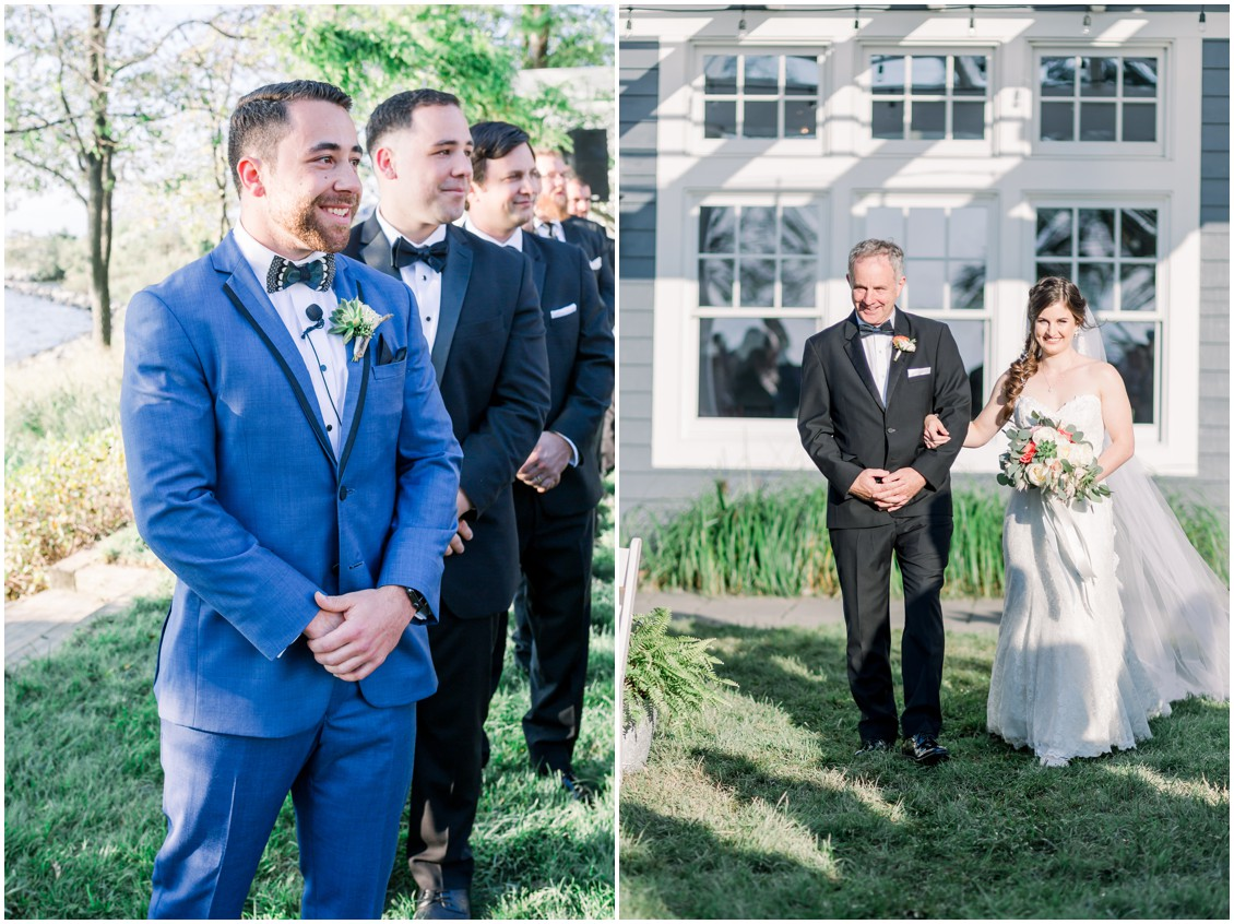 Groom watching bride walk down the aisle. | My Eastern Shore Wedding |