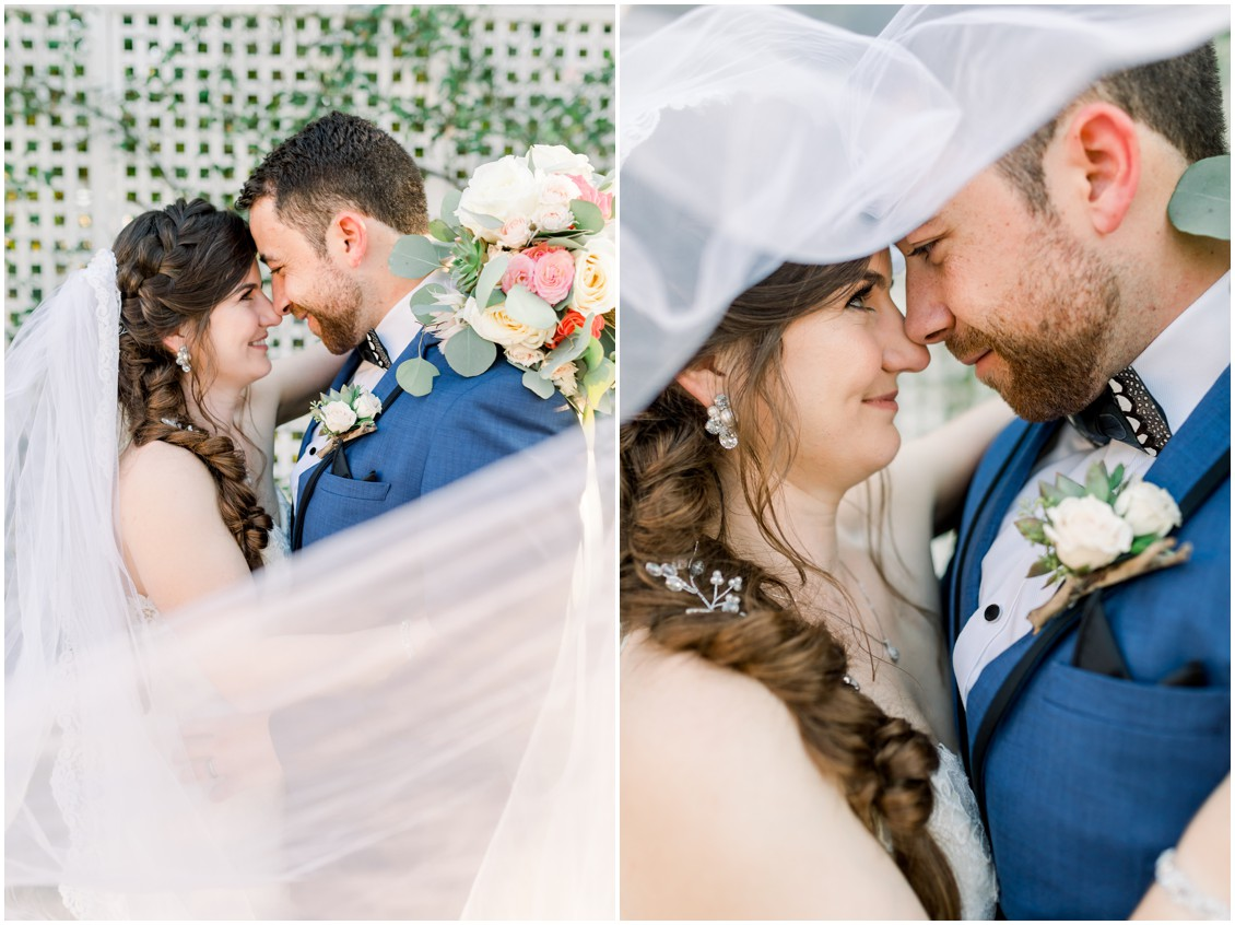 Bride under her veil with the groom. | My Eastern Shore Wedding |