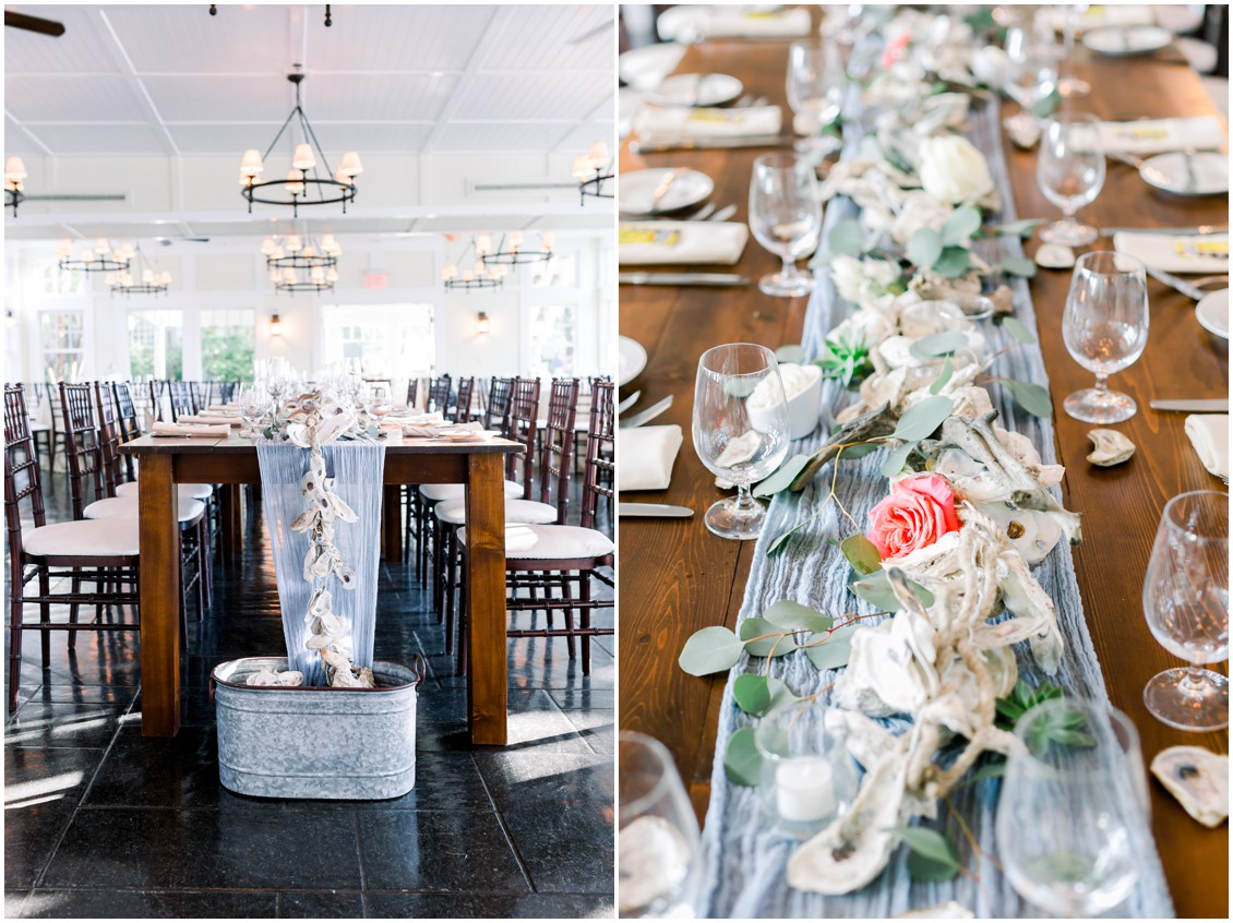Long table runner with oyster shells, roses and rope that fall into a container. | My Eastern Shore Wedding |