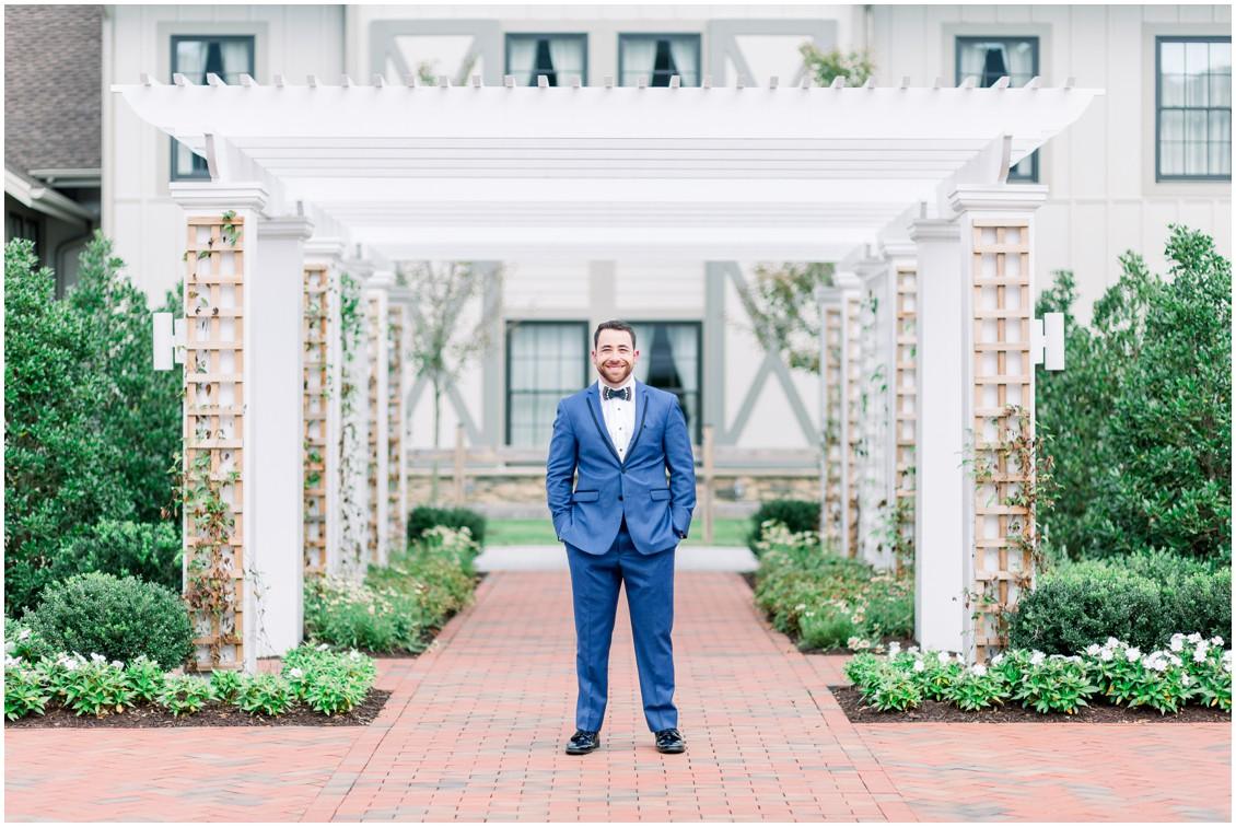 Groom in dark blue suit. | My Eastern Shore Wedding |