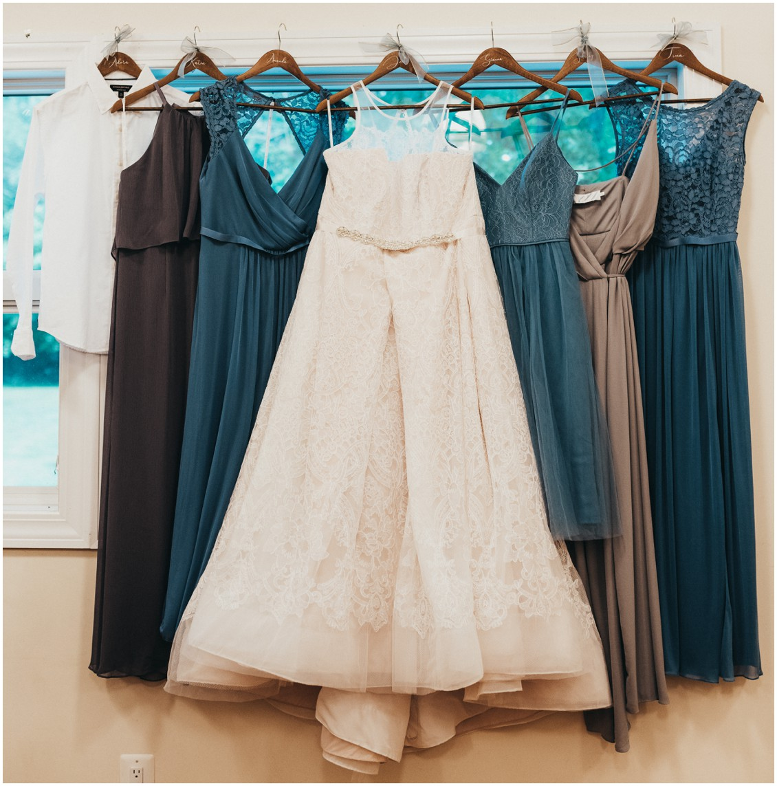 Wedding dress and bridesmaid gowns. | My Eastern Shore Wedding |
