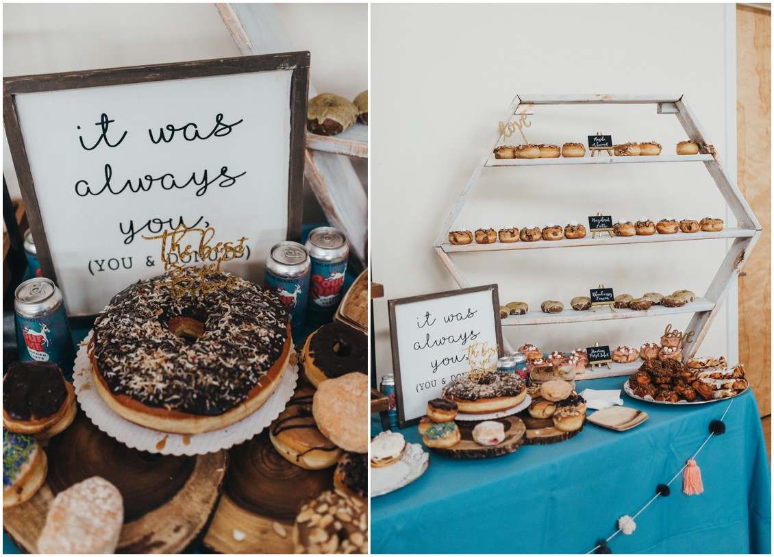 Giant donut cake, smaller donuts at reception by The Bay Country Bakery & Cafe. | My Eastern Shore Wedding |