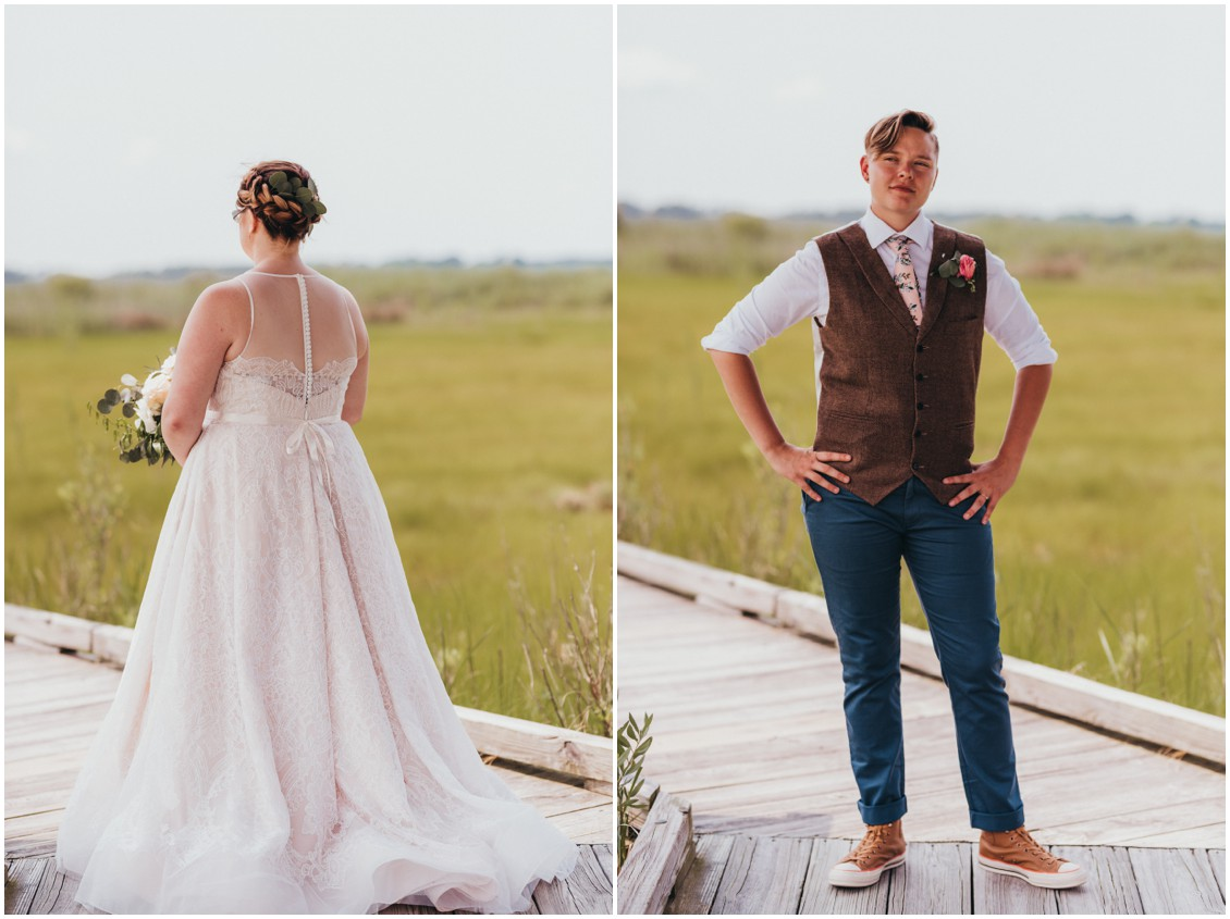Couple's wedding day outfits on display. | My Eastern Shore Wedding |
