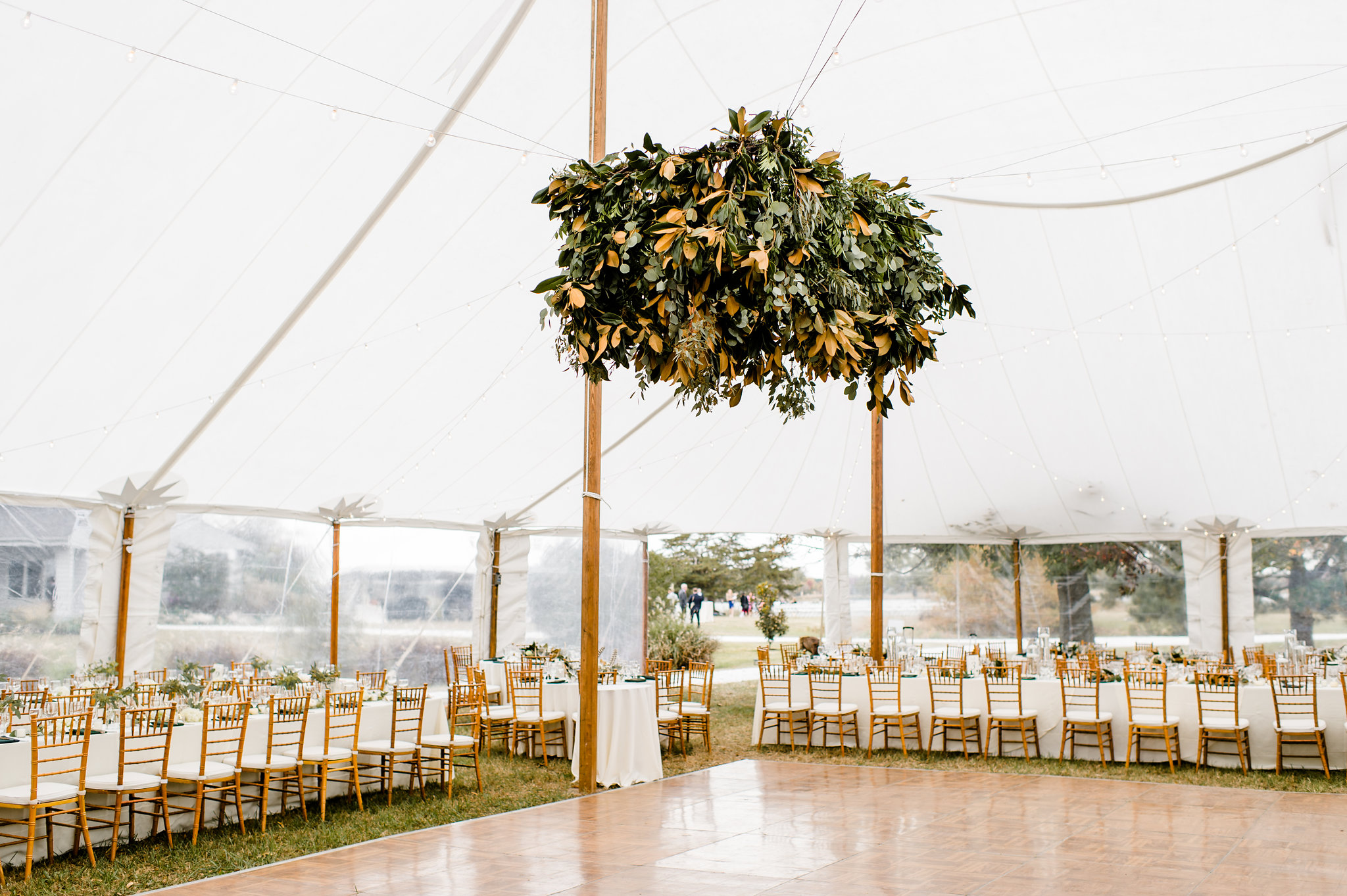 Eucalyptus Leaf Chandelier hanging in Wedding Reception tent on Maryland's Eastern Shore