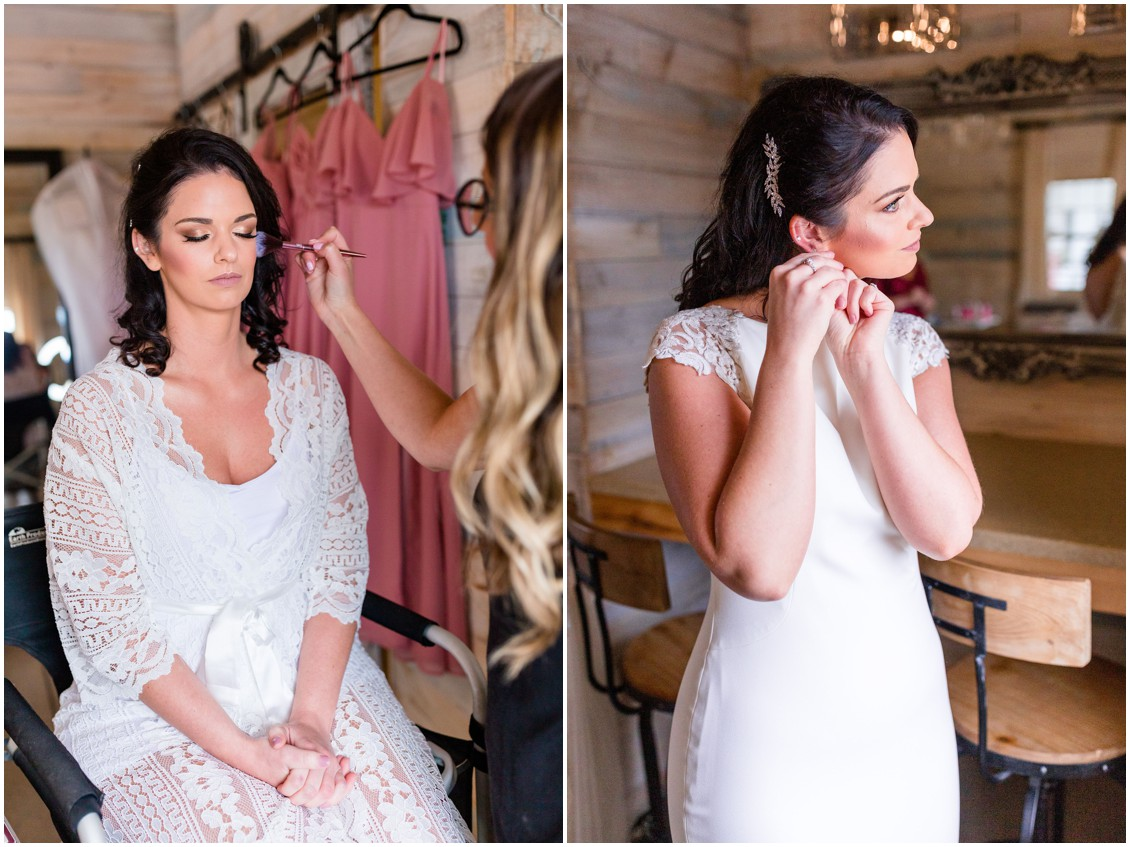 Bride getting ready, makeup by Rebecca Ritchie. | My Eastern Shore Wedding |