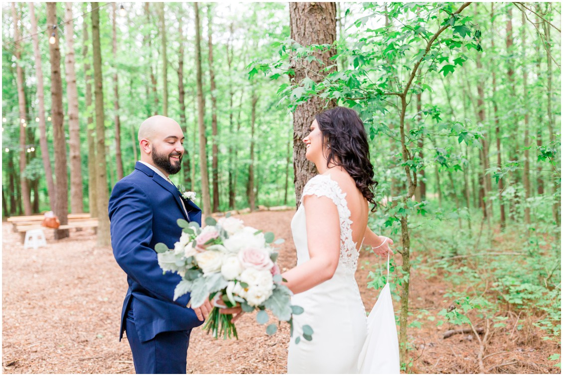 Bride and groom's wedding reveal in the woods. | My Eastern Shore Wedding |