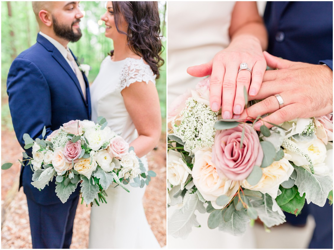 Bride and groom with J Starrs Flower Barn bouquet, and displaying wedding rings. | My Eastern Shore Wedding |