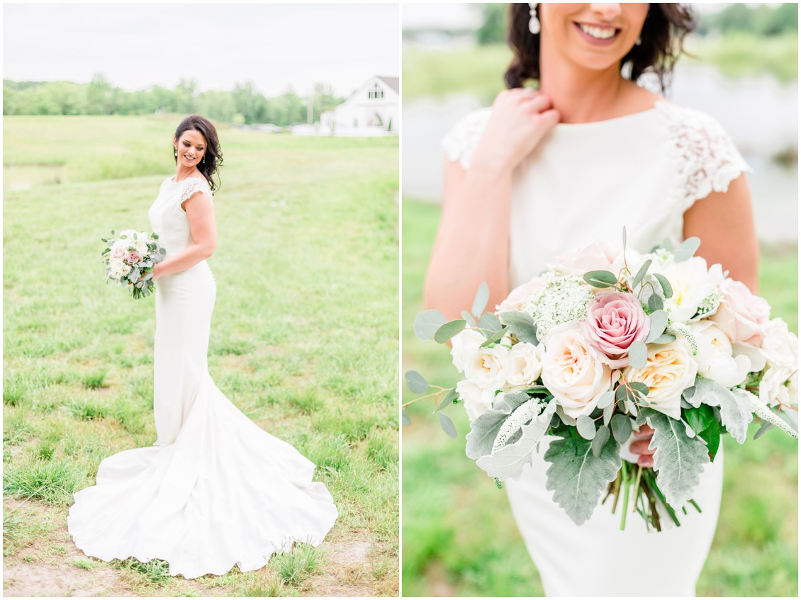 Bride holding J Starrs Flower Barn bouquet, wearing Pronovias wedding gown. | My Eastern Shore Wedding |