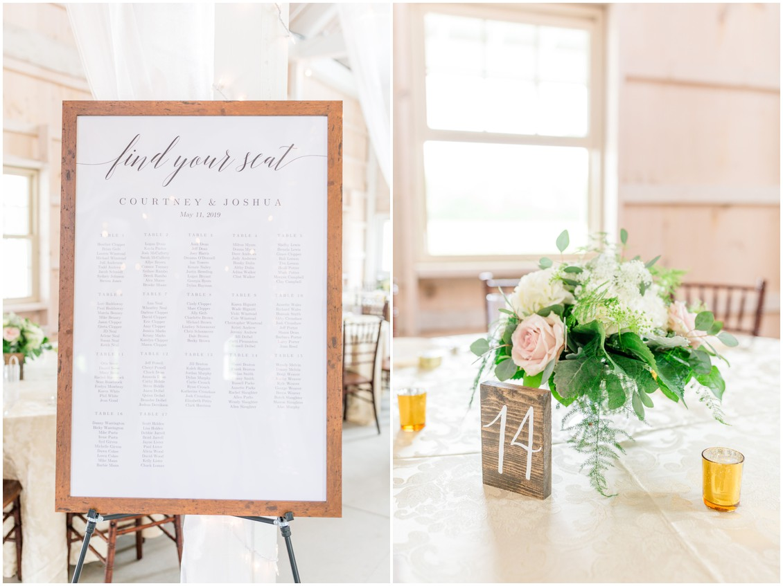"""Find your seat"" sign and wedding table number sign next to J Starrs Flower Barn centerpiece. 