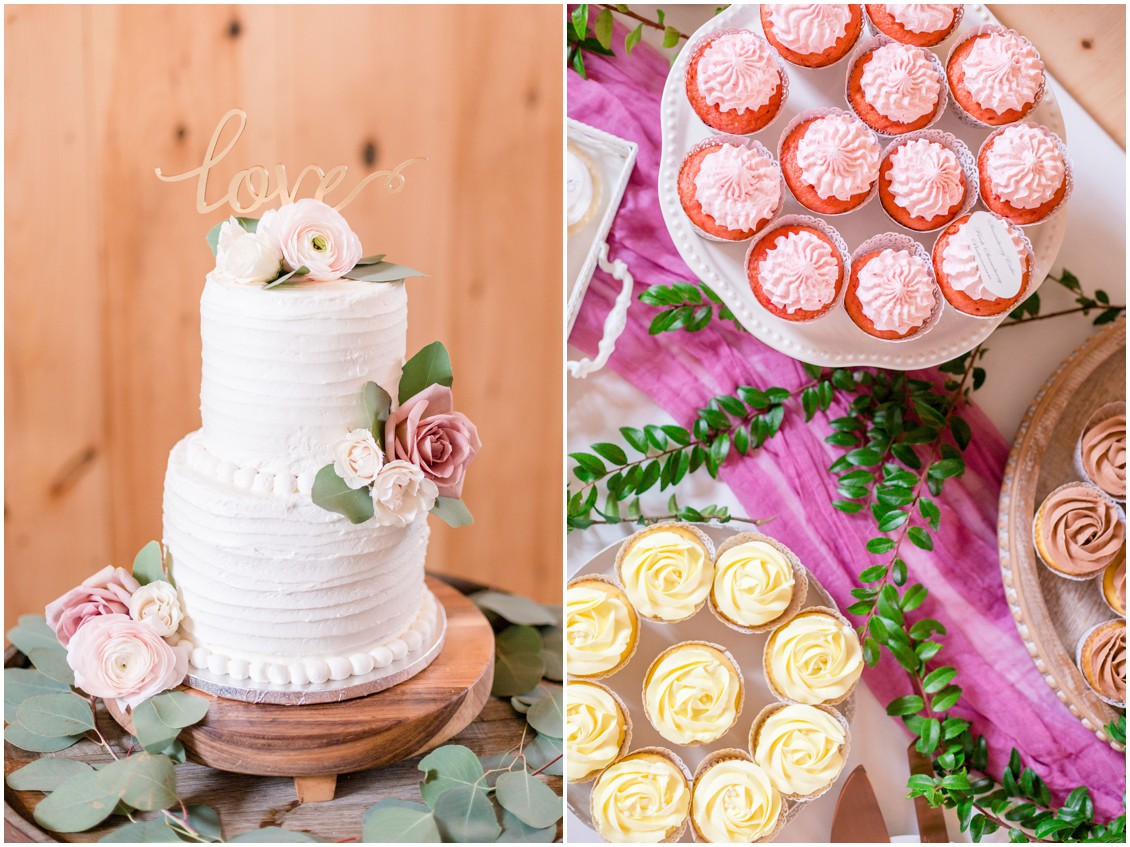 Wedding cake and cupcakes by The Country Cupcake. | My Eastern Shore Wedding |