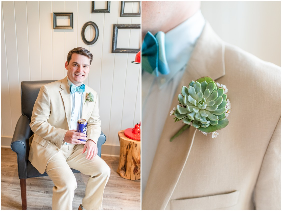 Groom wearing a light tan suit with a blue bowtie and a succulent boutonniere. | My Eastern Shore Wedding |