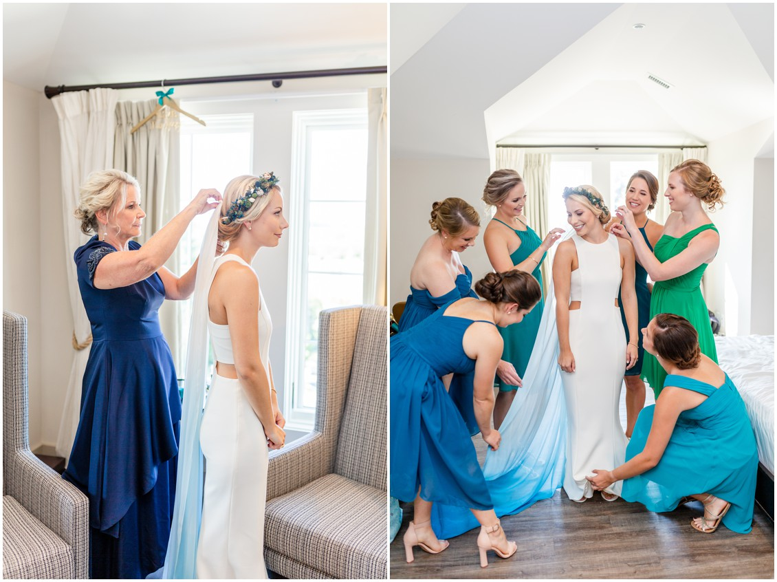 Bride getting ready with mother and bridesmaids. | My Eastern Shore Wedding |