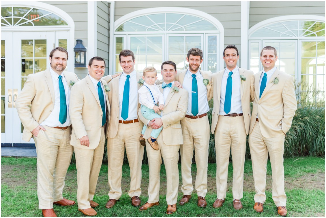 Groom with his groomsmen at the Chesapeake Bay Beach Club. | My Eastern Shore Wedding |