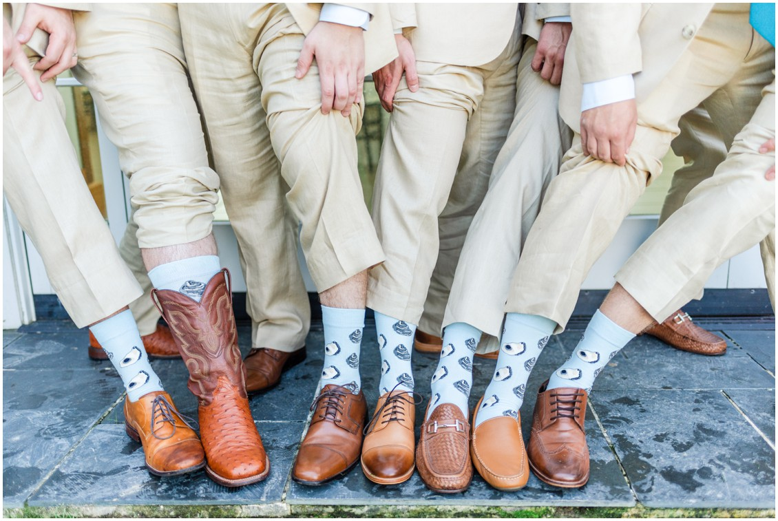Matching groomsmen socks with oysters on them. | My Eastern Shore Wedding |