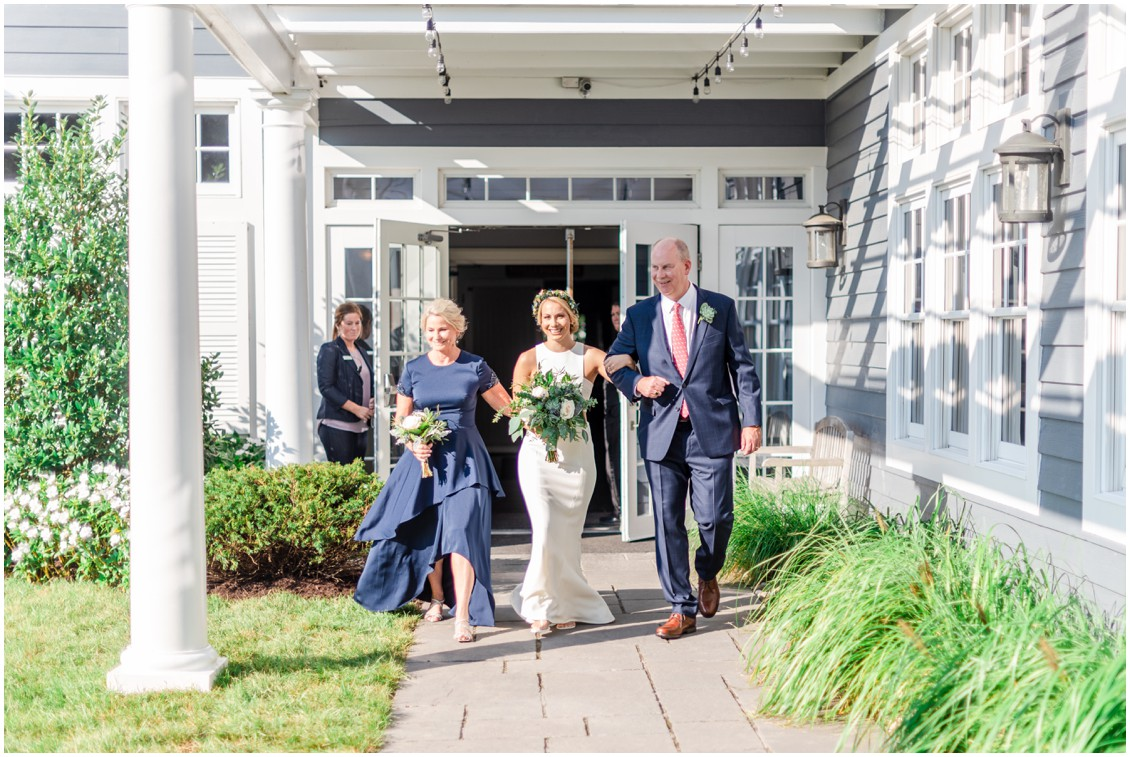 Bride about to walk down the aisle with her mother and father. | My Eastern Shore Wedding |