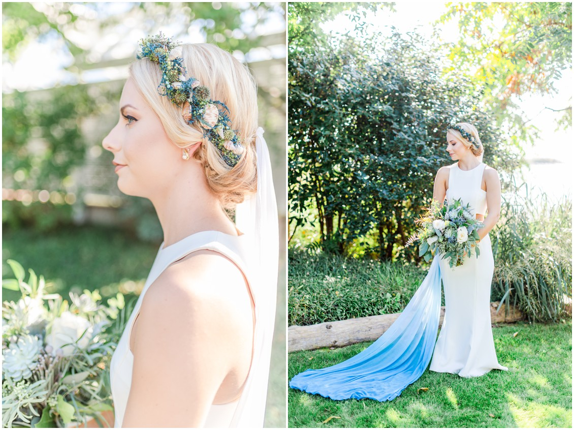 Bride with flower + seashell crown, and white to blue ombré wedding veil. | My Eastern Shore Wedding |