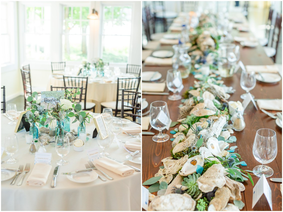 Nautical table runner, driftwood, seagrass on reception tables. | My Eastern Shore Wedding |