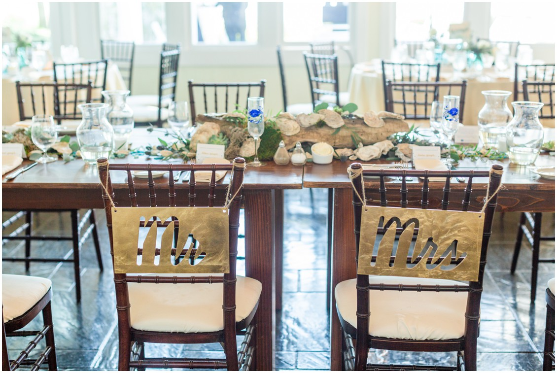 Mr. and Mrs. signs on the back of the bride and groom's reception chairs. | My Eastern Shore Wedding |