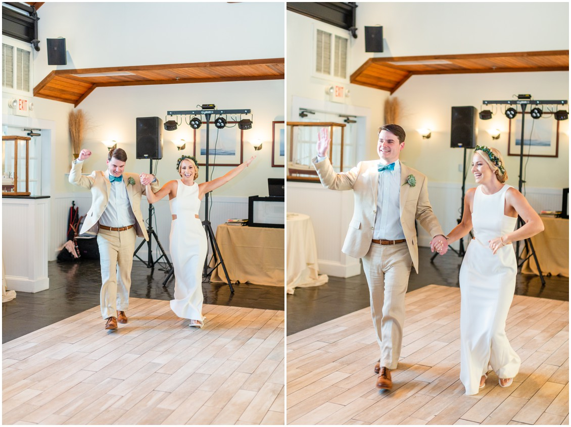 Bride and groom enter the reception on the dance floor. | My Eastern Shore Wedding |