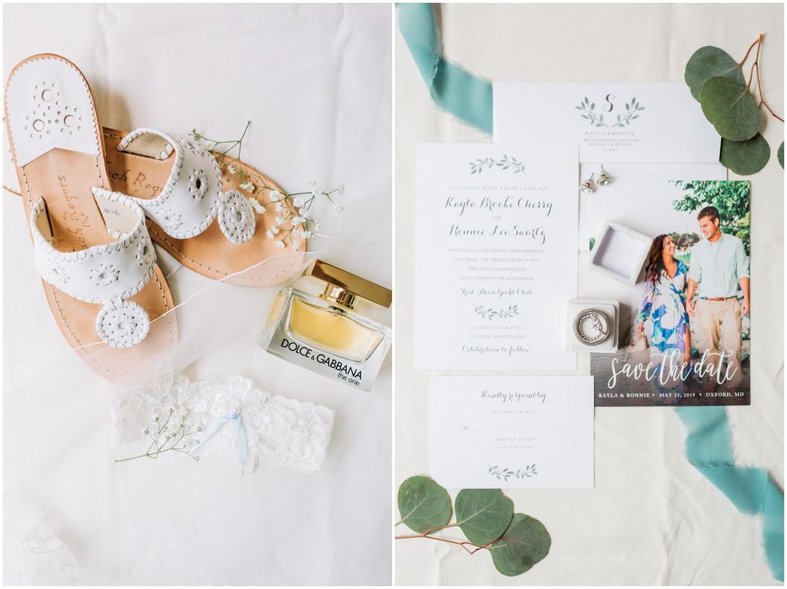 White Jack Rogers | Dolce & Gabbana perfume | Wedding stationery | My Eastern Shore Wedding |