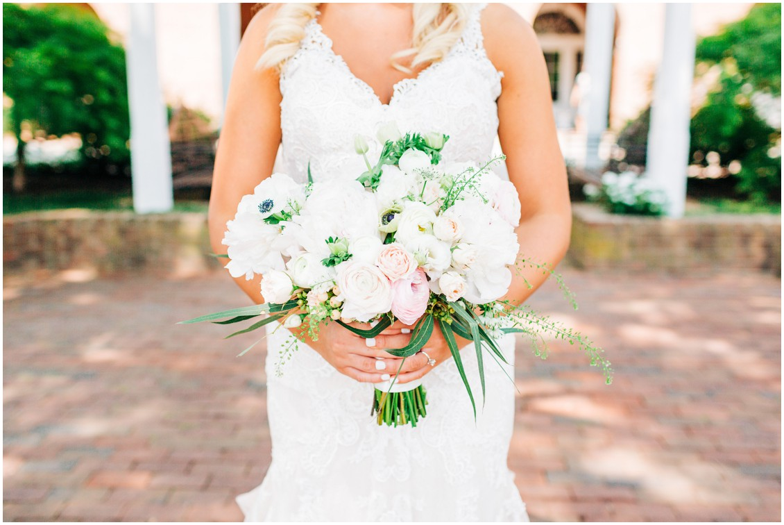 Bride holding Sherwood Florist bouquet | My Eastern Shore Wedding |