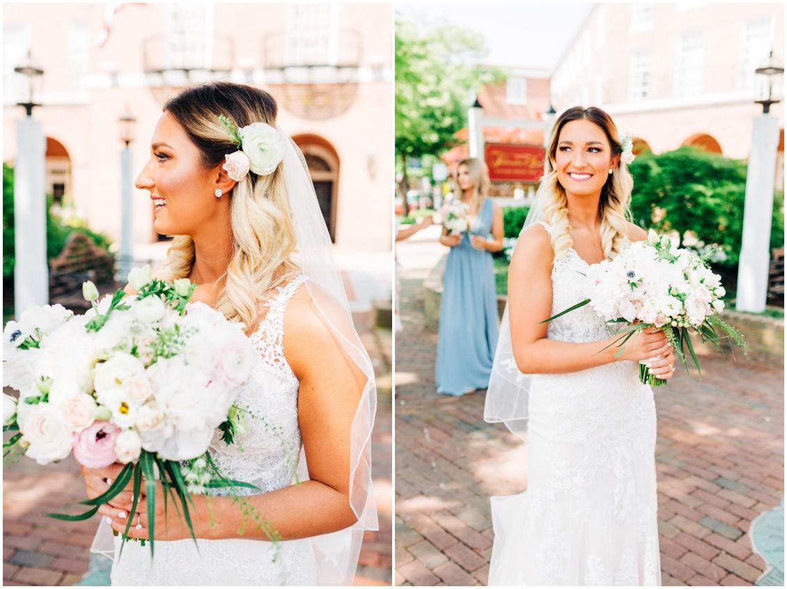 Sherwood Florist bouquet | Bride in front of Tidewater Inn | My Eastern Shore Wedding |