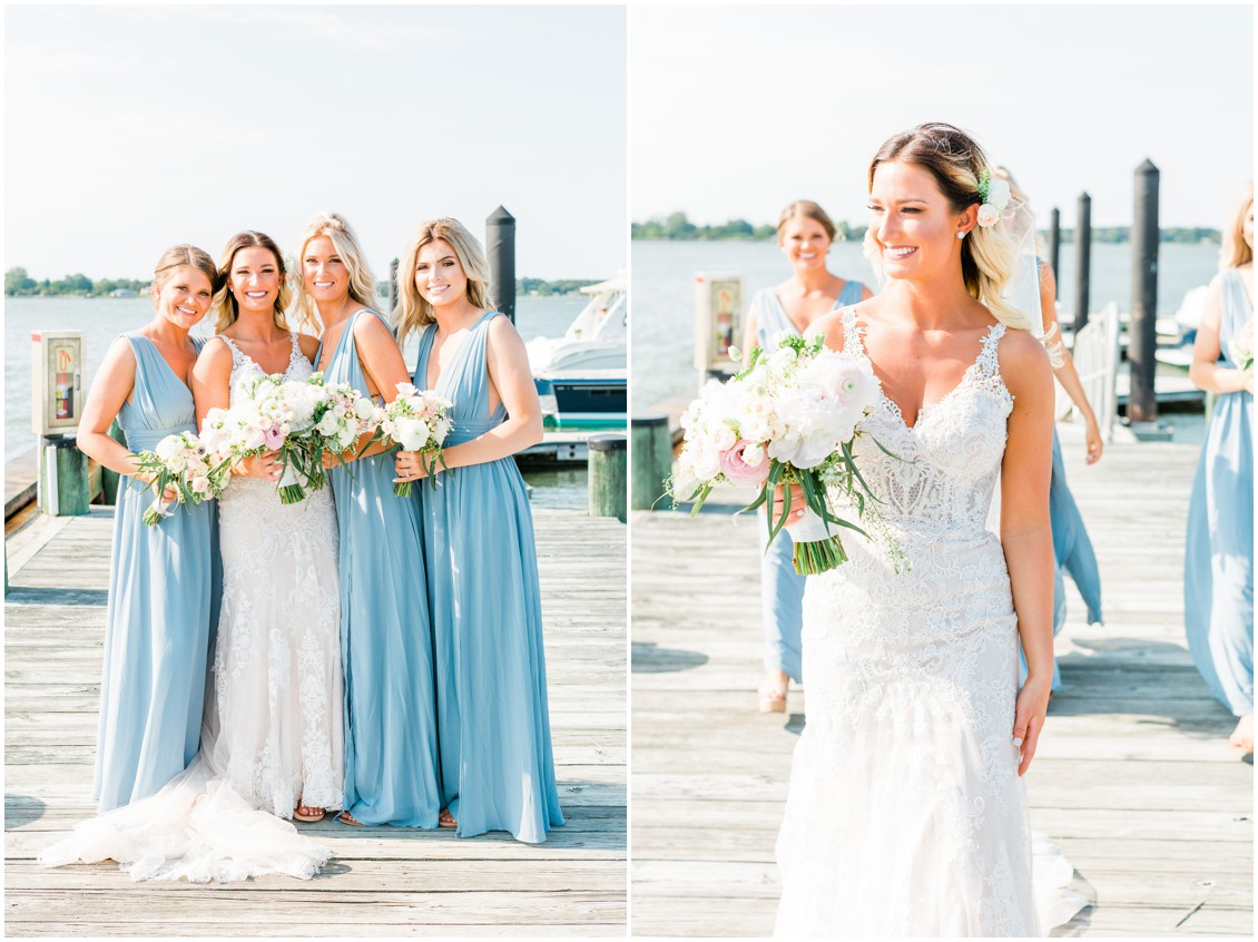 Ted Avon Yacht Club | Bride with bridesmaids on dock | My Eastern Shore Wedding |