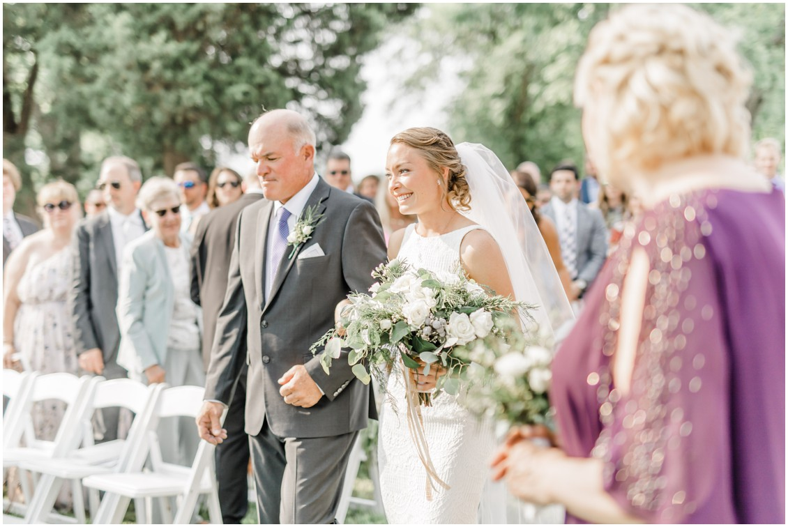 Bride walking down the aisle | Waterfront ceremony | My Eastern Shore Wedding |